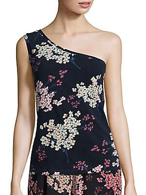 One Shoulder Phlox Floral Top