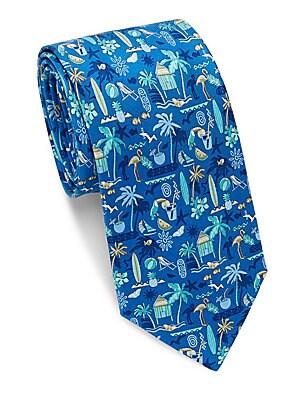 House and Beach Print Silk Tie