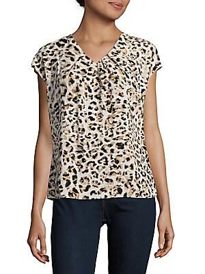 Animal Printed Short Sleeve Top
