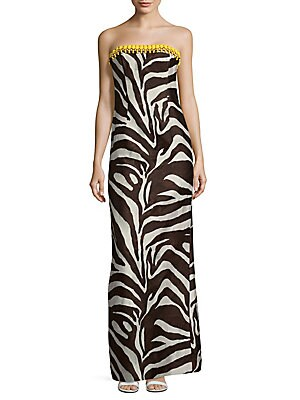 Gabie Zebra Printed Silk Dress