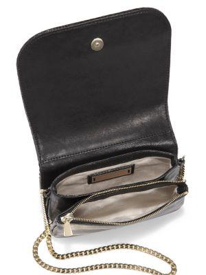 JIMMY CHOO Zadie Pleated, Coated Leather Flap Bag in Black