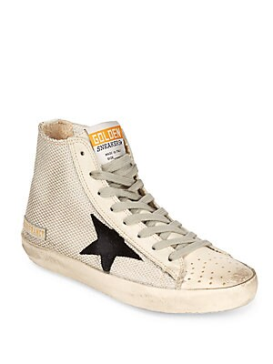 Distressed Leather High-Top Sneakers
