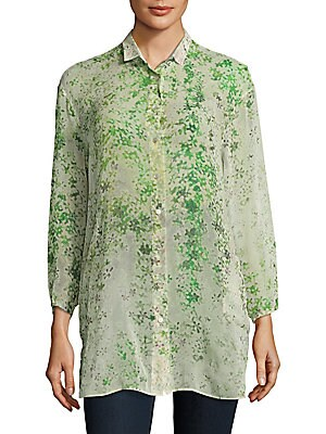 Printed Cotton and Silk Button-Down Shirt