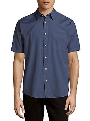 Dyed Cotton Casual Button-Down Shirt