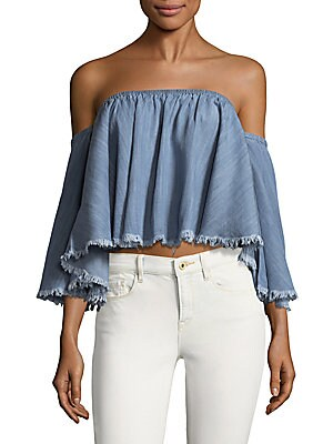 Fringed Cotton Cropped Top