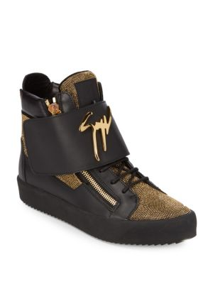 GIUSEPPE ZANOTTI Leather Metallic Nailheads High-Top Sneakers