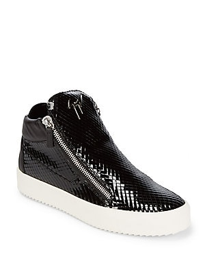 Snake Print Leather Sneakers