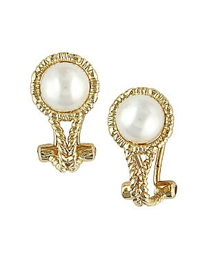 7MM White Pearl and 14K Yellow Gold Earrings