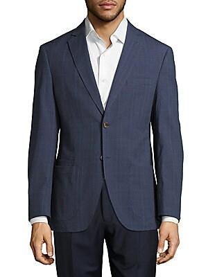 Windowpane Plaid Linen Jacket