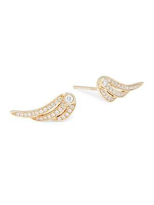 Angel Wing Diamond & 14K Yellow Gold Earrings