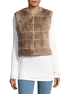 Solid Rabbit Fur Cropped Vest