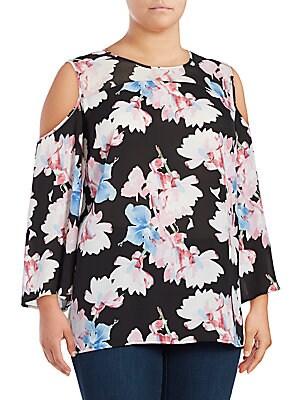 Floral-Print Long-Sleeve Cold-Shoulder Top