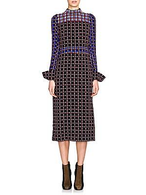 Sable Windowpane Print Dress