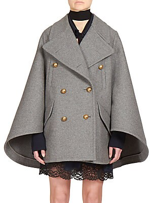 Double-Breasted Wool Cape