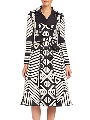 Tribal-Print Cashmere Trenchcoat