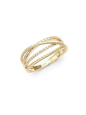 Click here for Crisscross 14K White Diamond and 14K Gold Ring prices