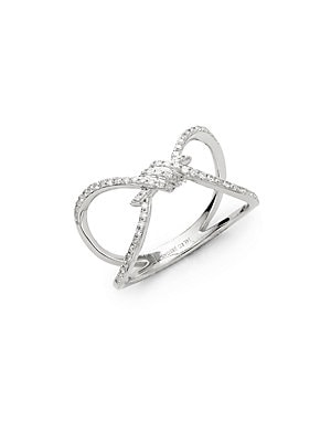 Click here for Love Knot 14K White Diamond and 14K Gold Ring prices