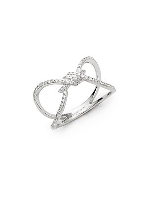 LOVE KNOT 14K WHITE DIAMOND AND 14K GOLD RING