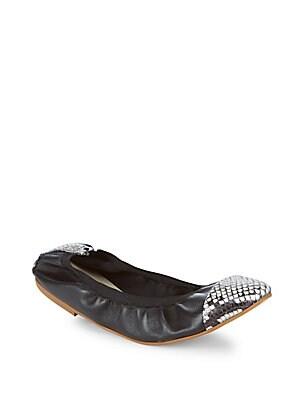 Elasticized Leather Ballet Flats