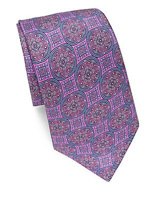 Floral-Print Silk Tie