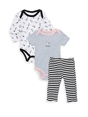 Baby's Cat Print Cotton Three-Piece Bodysuit, One-Piece & Pants Set