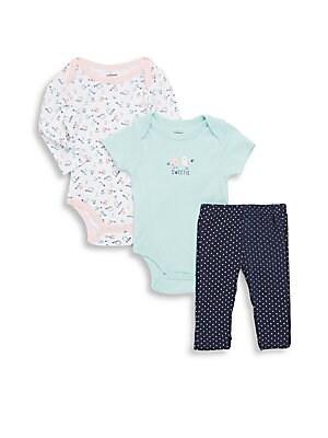 Baby's Bird Print Cotton Three-Piece Bodysuit, One-Piece & Pants Set