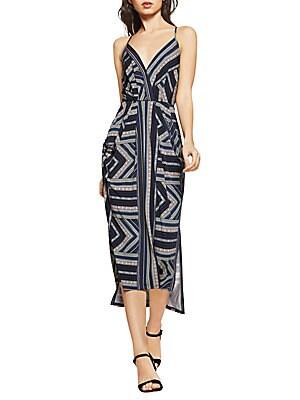 Geo-Stripe Faux-Wrap Dress