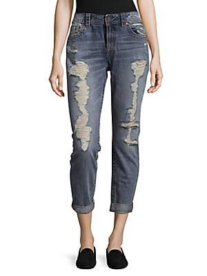Distressed Cotton Boyfriend Jeans