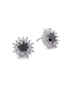 Jet Floral Stud Earrings