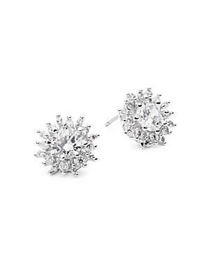 Rhodium Flower Stud Earrings