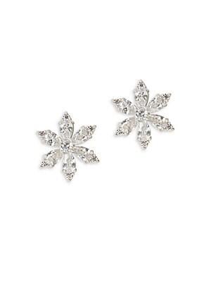 Rhodium Floral Stud Earrings