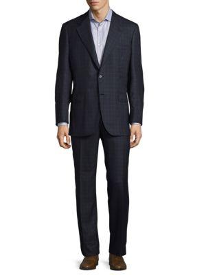 Regular Fit Plaid Wool Suit Sergio Rossi