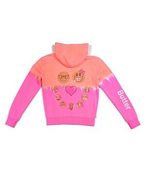Little Girls Emoji Dip-Dye Hoodie