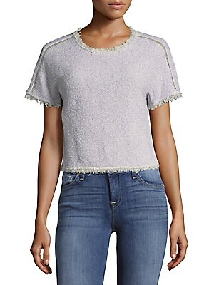 Frayed Border Pullover Top