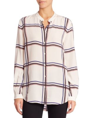 Henri Large Plaid Printed Silk Blouse Joie