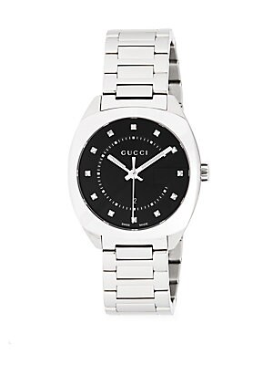 Stainless Steel Crystal Studded Bracelet Watch