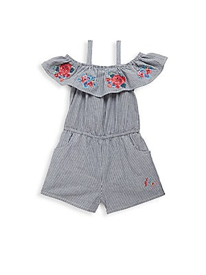 Little Girl's Striped & Floral Embroidered Romper