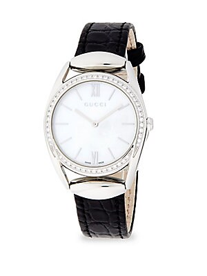 Diamond, Mother-of-Pearl & Steel Strap Watch