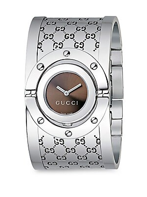 Twirl Stainless Steel Monogram Bangle Bracelet Watch
