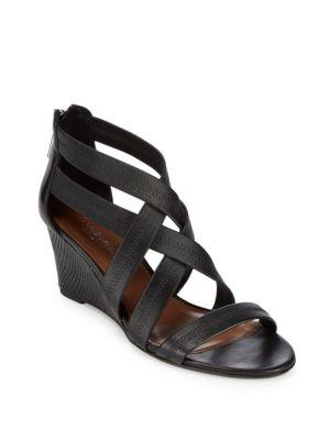Jemi Leather Wedge Sandals Donald J Pliner