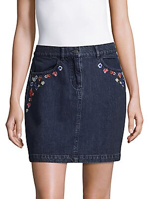 Floral Cotton Denim Skirt