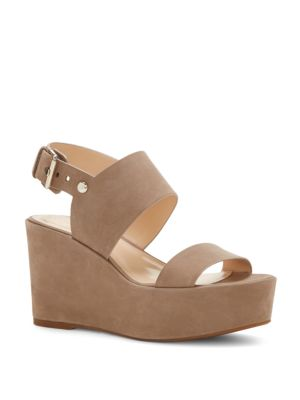 Karlan Nubuck Leather Platform Wedge Sandals Vince Camuto