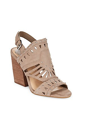 Leather Stacked Blocked Sandals