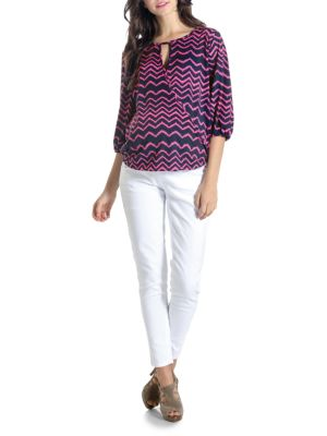 Maternity Kylie Zig-zag Printed Top LILAC MATERNITY
