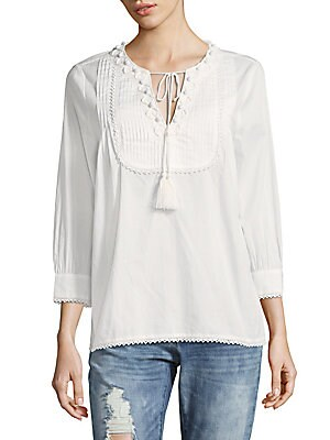 Embroidered Pintuck Cotton Top