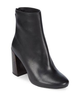 Leather Block Heel Booties Pure Navy