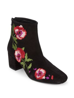 Embroidered Suede Booties RENVY