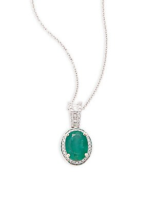 Diamond and Emerald, 14K Gold and 14K White Gold Necklace