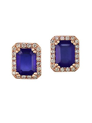 Tanzanite, Diamond and 14K Rose Gold Stud Earrings