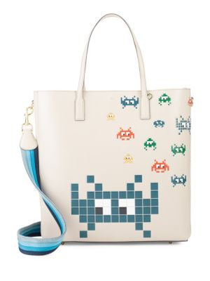 Ebury Space Invaders Leather Tote Anya Hindmarch